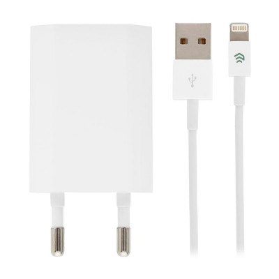 Набор СЗУ с кабелем Lightning Devia Smart Charger Suit 10W - White
