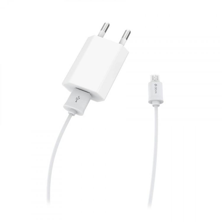 Набор СЗУ с кабелем Micro Usb Devia Smart Charger Suit - White